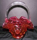 Vintage Fenton Cranberry Coin Ruffled Glass Basket w Clear Handle Excellent