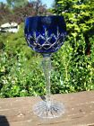 Ajka Crystal Hungary ARABELLA Blue Cut to Clear Cased Wine Goblet