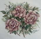 Completed Cross Stitch Pillows from Paulas Garden Dusty Pink Roses