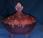 Vintage Carnival Imperial Glass Footed Covered Candy Dish Red iridescent