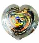 Heart shaped Glass Paperweight Aprox 44 Multicolored