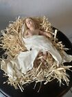 Baby Jesus in Manger Laying on Hay With White Cloth Holy Nativity Figure