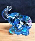 VINTAGE FENTON BLUE GLASS ELEPHANT FIGURINE HAND PAINTED AND SIGNED 95TH ANNIV