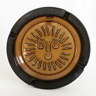 Large Heavy Vintage Amber Glass Ashtray with Sun or Lion Motif 1075