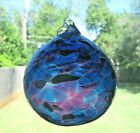 Large Hand Blown Art Glass 4 1 2 Blue Purple and White Glass Ornament Ball