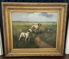 HUNTING DOGS Painting Oil on Canvas 32x28 English Style Gilded Wood Frame