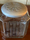 ANTIQUE SQUARE SNEATH HOOSIER GLASS COOKIE JAR CANISTER WITH ORIGINAL LID