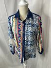 Vintage John Mark colorful mixed media button down shirt Embroidered Unique S
