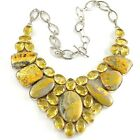 Yellow BumbleBee Jasper Faceted Glass Boho Bib Statement Necklace 925 Sterling