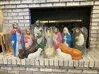 New Vintage Empire Nativity Blow Mold 12 Piece Set Great Condition
