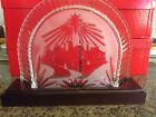 Waterford Crystal Christmas Nativity Bethlehem Backdrop with wood stand no box