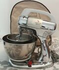 Vintage Hamilton Beach Mixer Model K Chrome Stand 10 Speed With Stainless Bowls