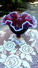FENTON Art Glass Plum Opalescent Hobnail 6 3 4 Footed Comport Compote NWT