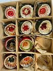 Vtg Indent Mercury Glass Christmas Ornaments 8 +2 w Box Striped Floral Back