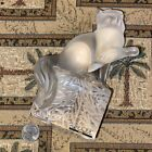 Solid Glass Lalique FRANCE Cat Kitten on Cube Paw Up With Sticker  Signed