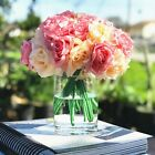 Artificial Open Rose Fake Flower Arrangements in Glass Vase with Acrylic Water