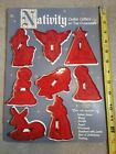 Vintage HRM Red Cookie Cutters 8 Piece Nativity Scene Christmas NOS