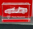 Tesla Roadster Promo Glass Paperweight crystal with free bonus lunchbox rare