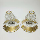 MMartinsviille Viking Glass JANICE Queens Gold Overlay Candle Holder X2 MINT