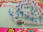 Blue glass and white milk glass vintage long necklace