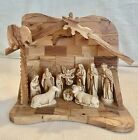 WOODEN NATIVITY SCENE Hand Carved all one piece