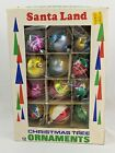 Vintage Santa Land Box of 12 Ornaments with Glitter
