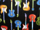 Guitar music fleece fabric by the yard: Rock n roll