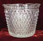 Vintage Diamond Point Jardiniere Indiana Glass Retro Era Pressed NICE (O)