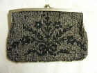 Vintage Black Glass Bead Hand Purse Art Deco Design