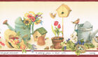 COUNTRY GARDENING FLOWERS WATERING CANS BIRD HOUSES Wallpaper bordeR Wall