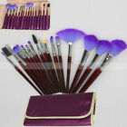 16Pcs Cosmetic Makeup Brush Set With Bag Blush Eyeshadow Lip Eyeliner Fan Purple