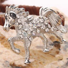 Unique Silver Rhinestone Horse-shaped Brooch