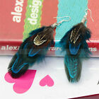 Charming Attractive Blue Goose Feather Eardrop Dangle Silver-Plated Earrings