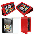 "New Leather Case Cover Red + screen protector for Amazon Kindle Fire 7"" Tablet"