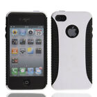 New TPU+PVC Two-tone Design Hard Case for iPhone 4 4S White & Black