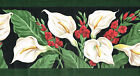 BEAUTIFUL DEEP RED PLUS WHITE FLOWERS ON BLACK GREEN EGDES Wallpaper bordeR Wall