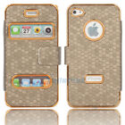 New Deluxe Leather Case Cover Skin for iPhone 4 4G 4S Brown