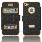 New Deluxe Leather Case Cover Skin for iPhone 4 4G 4S Black