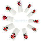 New 70pcs Beatles Pattern Acrylic French False Nail Half Tips White Red
