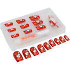 New 24 pcs Cupid Heart Pattern False Artificial Art Full Nail Tips Plastic Red