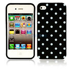 New black + white Small Polka Dots Silicone Case Cover Skin for iPhone 4 4G 4S