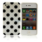 New white + black big Polka Dots Silicone Case Cover Skin for iPhone 4 4G 4S 4GS