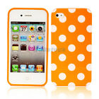 New Orange + White big Polka Dots Silicone Case Cover Skin for iPhone 4 4G 4S