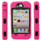 New Hard Silicone + Plastic Case Cover for iPhone 4 4S Rose Red + Black
