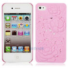 Hot Pink 3D Sculpture Design Rose Flower Hard Plastic Cover Case for iPhone 4 4S
