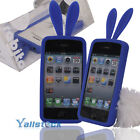 New Soft Cute Bunny Rabbit Silicone Bumper Case Cover for iPhone 4 Blue