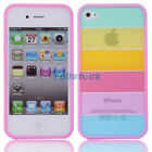 New Hot Fashion Rainbow Hard PC/TPU Case Cover for Apple iPhone 4/4S Pink Side