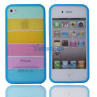 New Hot Fashion Rainbow Hard PC/TPU Case Cover for Apple iPhone 4/4S Blue Side