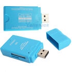 New USB2.0 SD/TF/MS/M2/MMC Multifunction Memory Card Reader Blue