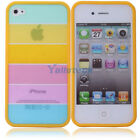 New Hot Fashion Rainbow Hard PC/TPU Case Cover for Apple iPhone 4/4S Yellow Side